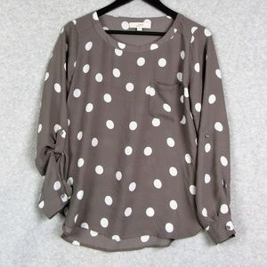Light Brown Polka Dotted Blouse Shirt Sheer